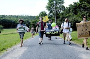 Clarkdale Fruit Farms rally, where protesters from the Rolling March to Stop the Pipeline handed off the pipeline to the next round of walkers across Mass.